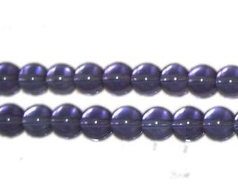 8mm Purple Round Pressed Glass Bead