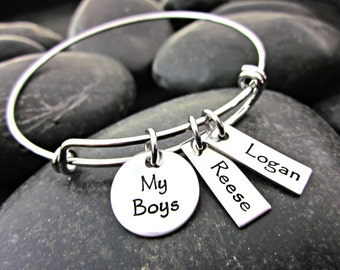 Mother's Bracelet - My Boys - Boy Mom - Mom of Boys - Personalized