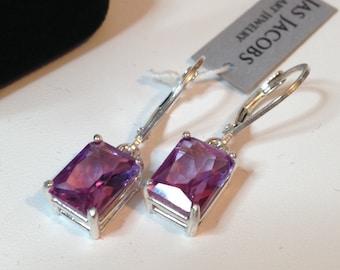 GORGEOUS 5ct Color Change Alexandrite Sterling Emerald Cut Dangle Earrings Trillion Cut Gemstone Jewelry Trending Stones June Gift