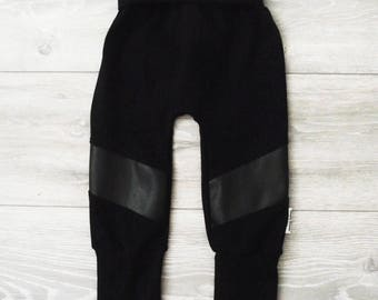 Black evolutive pants with Faux Leather Stretchy for baby and child / mode fashion and chic
