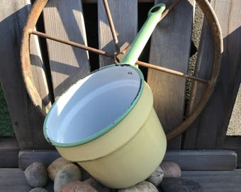 Vintage Yellow Enamel Pot, vintage kitchen decor, vintage enamel camping pot