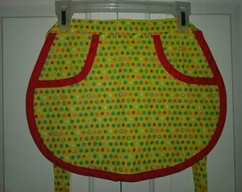 apron, yellow polka dot childs apron, tutti fruiti apron, apron for kids, kitchen helper apron, kids apron, children's apron, half apron