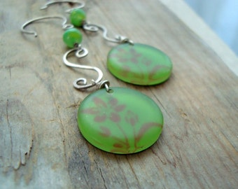 Earth Day Earrings Fern Green Sterling Silver Statement Jewelry Mothers Day Gifts Gifts Under 40 Long Dangles