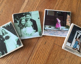 CUSTOM Handmade Photo Costers- Distressed or Brilliant finish!