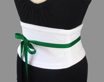 White Corset Belt / Subtly Striped Waist Cincher / Steel Boned / Wedding Corset / White Sash / Obi Belt / Menswear / White Belt / Plus Size