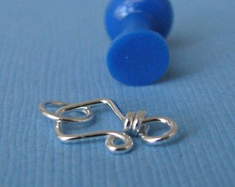 Sterling Silver Clasp, Tiny Aztec 20g, Handmade Hook and Eye, Triangle Clasp, Artisan Jewelry Findings