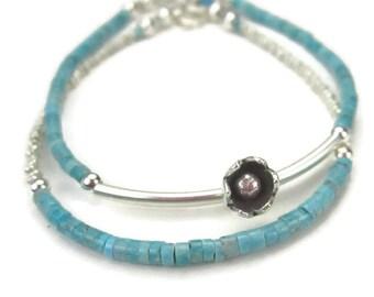 Turquoise Bracelets Silver Flower Charm Blue Gemstone December Birthstone Set of 2 Beaded Bracelets