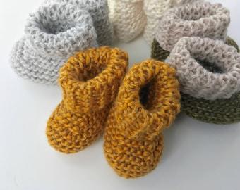 Handmade Knit Baby Booties - Yellow