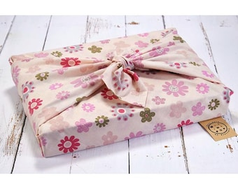 Furoshiki in organic cotton GOTS summer flowers, zero packaging waste, durable, eco-friendly, reusable, 75 x 75 cm.