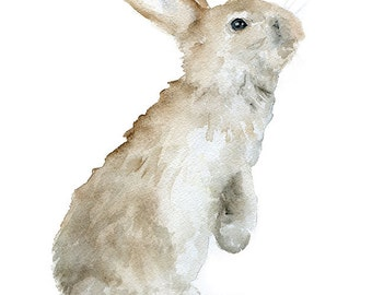Bunny Watercolor Painting Giclee Print 11 x 14 - Woodland Animal Fine Art Reproduction