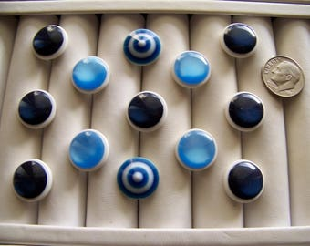 Lot of 14 Vintage Plastic Shank Buttons Blue Shades Sewing Buttons Craft Buttons