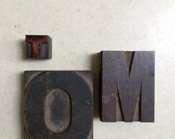 Three Vintage Letterpress Wooden Printers Blocks Spells TOM