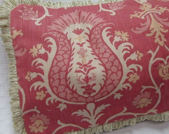 Fringed Pillow pinkish salmon coral and cream Pillow Cover damask design cotton fabric