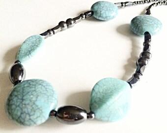 Turquoise hematite necklace, marble bead, beaded necklace, hematite jewelry, handmade jewelry, unique jewelry