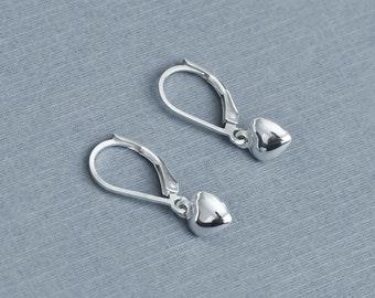 Sterling Silver Tiny Heart Earrings, Sterling Silver Dangle Earring, Modern Minimalist Earrings, Everyday Wear Earrings, Children Jewelry