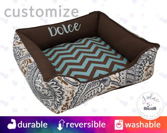 Designer Dog Bed or Cat Bed | Brown, Blue, Paisley, Classy, Traditional | Design Your Own