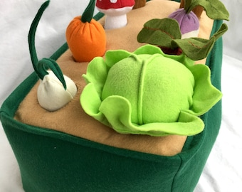 Felt Toys, Pretend Garden, Playfood Vegetable Playset, Veggie Play Set, Montessori Toy, Farm Birthday Gift, Felt Food Farmer's Market,