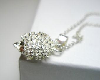 Tiny Hedgehog  Necklace- sterling hedgehog jewelry  - hedgehog ring