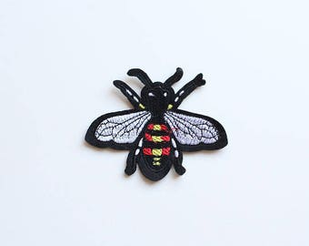 Bee Embroidered Applique, Sew on Patch