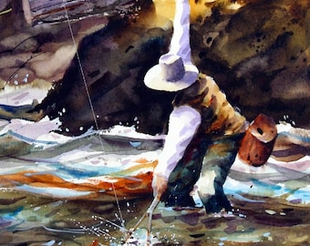 Trout Fishing Watercolor Print By Dean Crouser