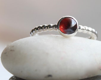 Garnet Stacking Ring Sterling Silver - January Birthstone