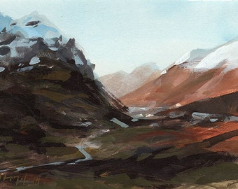 Original Landscape Painting Mountain Valley Southwest River Snow - 5x7 by David Lloyd