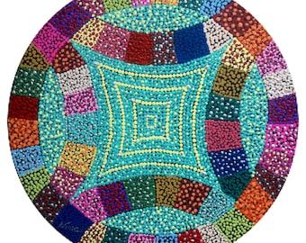 "Dot Pointillism, Acrylic, Quilting block, 12"" round, black canvas board, pointillist, unframed pointillist art, dot artwork, wedding ring"