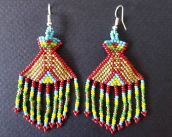 Seed bead earrings, tribal earrings, native American earrings, huichol earrings, festival earrings boho earrings, bohemian earrings, fringe