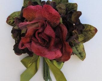 velvet rose and hydrangea posy. velvet flowers. millinery flowers.