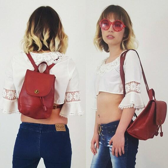 Vintage Burgundy Leather COACH Backpack Purse - Luxury Genuine Quality Handbag Maroon Oxblood BookBag - Classic Dark Blood Red Designer Bag