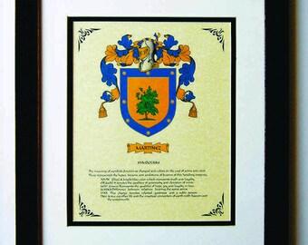 HERALDY COAT of ARMS ~ Martinez Family Crest ~ Framed