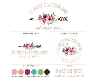 Mini Branding Package, Photography Logo and Watermark, Watercolor Floral Bohemian Arrow Premade Marketing Kit bp24