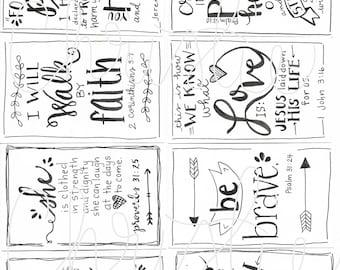 Printable Scripture cards #4 - inspirational cards - scripture memory - encouragement scripture cards - digital download
