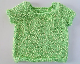 Kids sweater in cotton with square neckline and short sleeves.