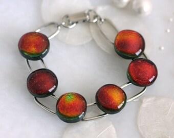 Link Bracelet Red Hot Dichroic Fused Glass Link Bracelet