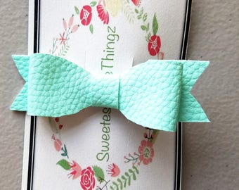 Blue lake faux leather baby bow
