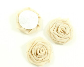 Set of 3 diameter 4.5 cm - beige fabric flowers