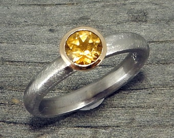 Yellow Sapphire Ring - Fair Trade Malawi Sapphire - Recycled 950 Palladium & 14k Yellow Gold, Engagement, Wedding, Right-Hand Ring - size 6