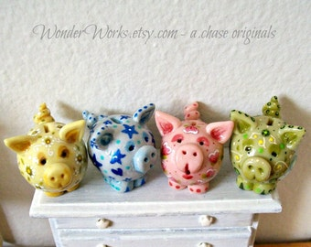 Chubby Miniature Piggy Bank One Sculpted and Painted Unique Dollhouse Scale Decor Large and Small Toy Bank or Custom Pig Pendant