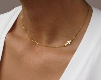 Gold Cross Necklace, Sideways Cross Necklace, Silver Cross Necklace Choker, Gift for Best Friend, Cross Necklace Woman, Cross Choker