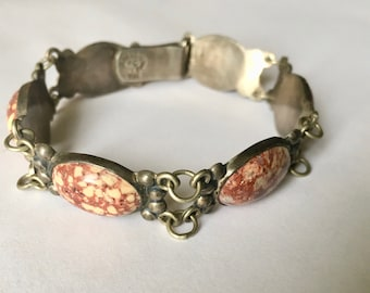 vintage sterling and stone mexican bracelet