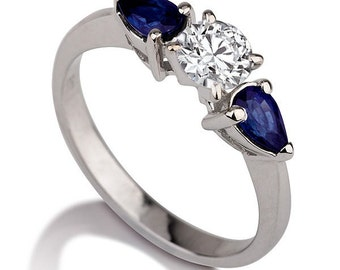 1 1/2 Carat Moissanite Engagement Ring, 3 Stone Sapphire Engagement Ring