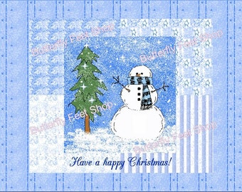 Snowman Christmas Card Making Kit, Printable PDF Digital Paper, Winter Snowy Backgrounds, Instant Download