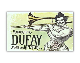 Big Lady Trombone Player fridge magnet kitchen decor vintage French poster art humor