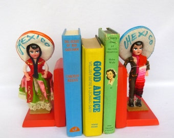 Vintage Up Cycled MEXICAN DOLL Neon BOOKENDS