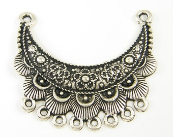 Antique Silver Bib Necklace Crescent Pendant Jewelry Connector Tribal Ethnic Flower Necklace Finding Ornate Jewelry Component |S26-4|1