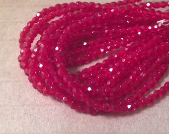 HOLLY BITS 3mm Firepolish Ruby Red Czech Glass Faceted Rounds - Qty 50 3-018