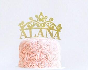 Princess Cake Topper, Personalized Tiara Cake Topper, Birthday Crown Cake Topper, First Birthday, Disney Princess Birthday Decoration, Tiara