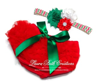 Baby Bloomer, Christmas Ruffle Bloomer and Headband, Baby Photo Prop, Newborn Bloomer, Ruffle Diaper Cover, Infant Bloomer, Red and Green