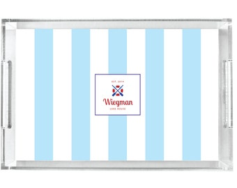Personalized Lucite Tray, Nautical Serving Tray, Monogrammed Gift Tray - Lake House Stripes